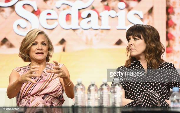 Creator/actor Amy Sedaris and Writer/producer Jodi Lennon of 'At Home With Amy Sedaris' speak onstage during the TCA Turner Summer Press Tour 2017...