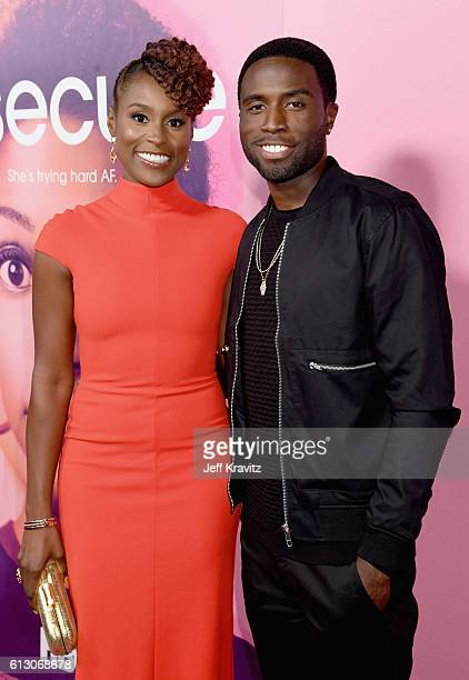Creator/Actress Issa Rae and actor Y'Lan Noel attend the HBO's Insecure Premiere at Nate Holden Performing Arts Center on October 6 2016 in Los...