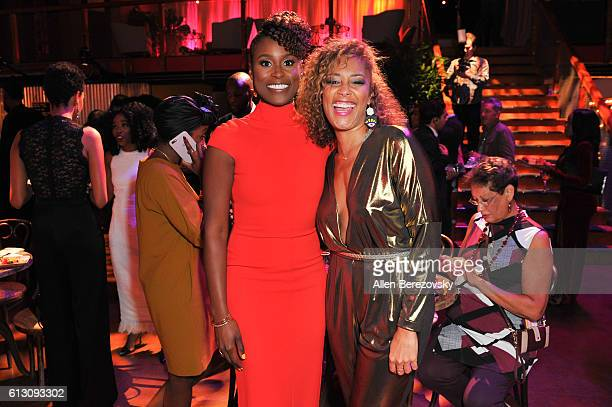 Creator/Actress Issa Rae and actress Amanda Seales attend the HBO's 'Insecure' Premiere After Party at Studio 11 on October 6 2016 in Los Angeles...