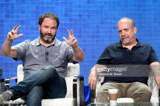 Creator/Author/Executive Producer Jim Gavin and Executive Producer Paul Giamatti of 'Lodge 49' speak onstage during the AMC Networks portion of the...