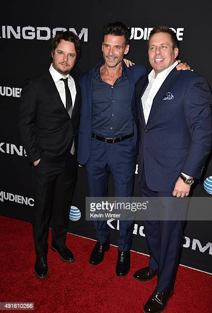 Creator/EP Byron Balasco actor Frank Grillo and Chris Long Senior Vice President Original Content and Production ATT attend the premiere of DIRECTV's...