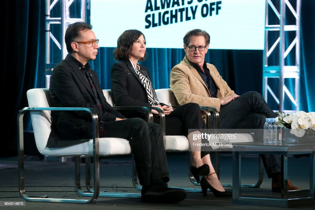 Creator/EP/Writer/Actor Fred Armisen, creator/EP/Writer/director/actor Carrie Brownstein, and actor Kyle MacLachlan of 'Portlandia' speak onstage during the IFC portion of the 2018 Winter Television Critics Association Press Tour at The Langham Huntington, Pasadena on January 12, 2018 in Pasadena, California.