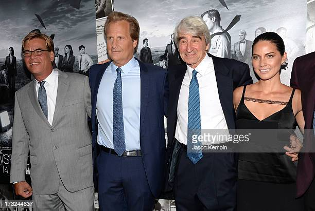 Creator/Executive Producer Aaron Sorkin actors Jeff Daniels Sam Waterston and Olivia Munn attend the premiere of HBO's The Newsroom Season 2 at...