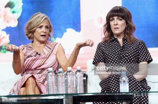 Creator/executive producer Amy Sedaris and writer/executive producer Jodi Lennon of 'truTV/At Home with Amy Sedaris' speak onstage during the Turner...