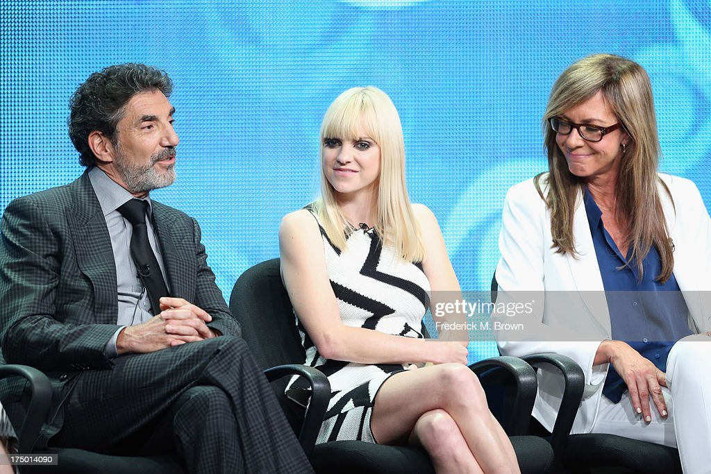 Creator/executive producer Chuck Lorre, actors Anna Faris and Allison Janney speak onstage during the 'Mom' panel discussion at the CBS, Showtime and The CW portion of the 2013 Summer Television Critics Association tour at the Beverly Hilton Hotel on July 29, 2013 in Beverly Hills, California.