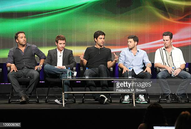 Creator/Executive Producer Doug Ellin actors Jeremy Piven Kevin Connolly Adrian Grenier Jerry Ferrara and Kevin Dillon speak during the 'Entourage'...