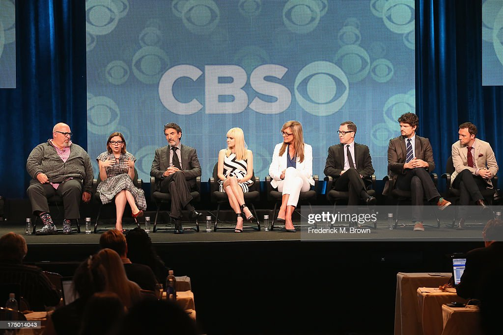 Creator/executive producer Eddie Gorodetsky, creator Gemma Baker, creator/executive producer Chuck Lorre, actors Anna Faris, Allison Janney, French Stewart, Matt Jones and Nate Corddry speak onstage during the 'Mom' panel discussion at the CBS, Showtime and The CW portion of the 2013 Summer Television Critics Association tour at the Beverly Hilton Hotel on July 29, 2013 in Beverly Hills, California.