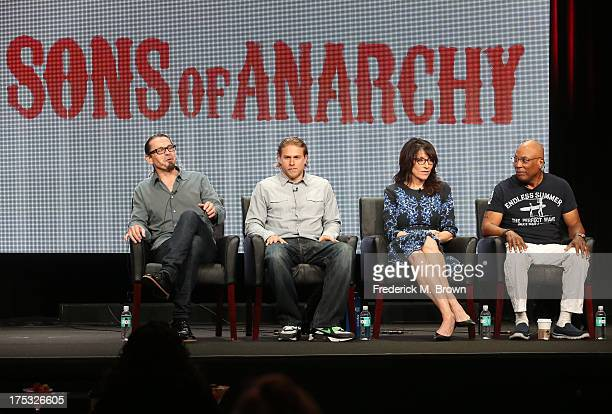 Creator/Executive Producer Kurt Sutter actors Charlie Hunnam and Katey Sagal and Executive Producer Paris Barclay speak onstage during the Sons of...