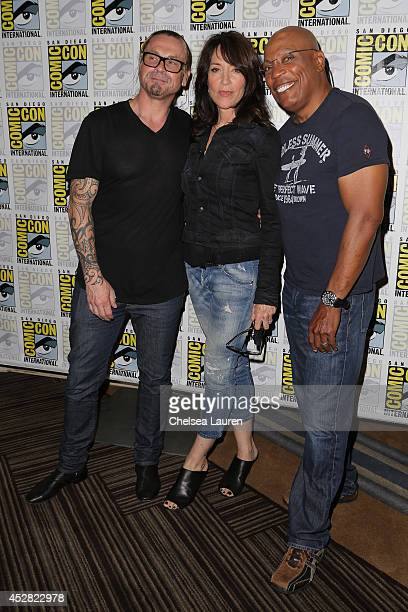 Creator/executive producer Kurt Sutter actress Katey Sagal and executive producer/director Paris Barclay attends the 'Sons of Anarchy' press line at...