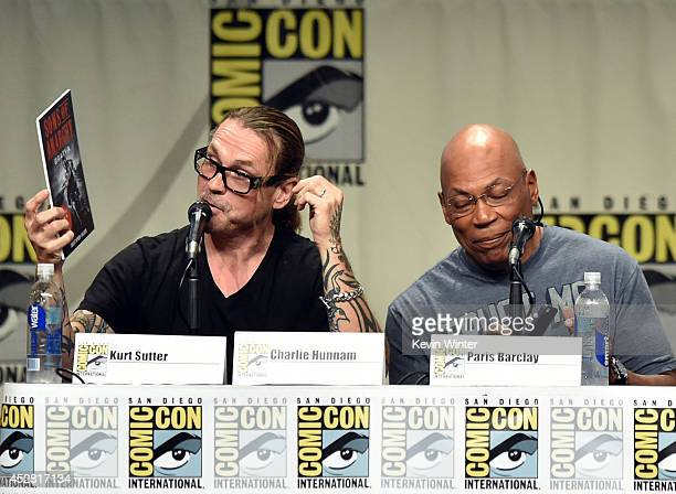 Creator/executive producer Kurt Sutter and executive producer/director Paris Barclay attend FX's 'Sons of Anarchy' panel during ComicCon...
