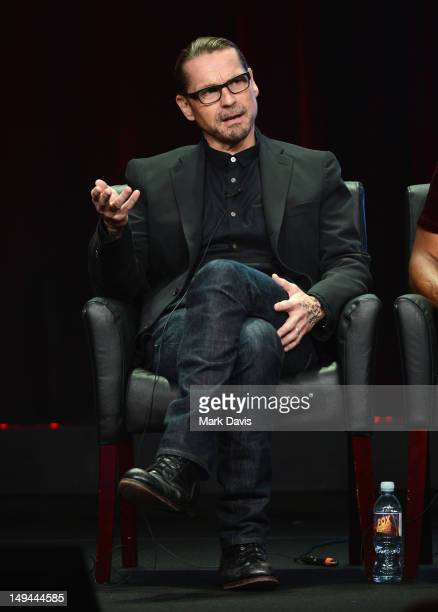 """Creator/Executive Producer Kurt Sutter speaks onstage at the """"Sons of Anarchy"""" panel during the FX portion of the 2012 Summer TCA Tour on July 28,..."""