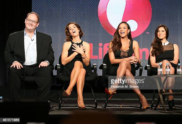 Creator/Executive Producer Marc Cherry actresses Ana Ortiz Dania Ramirez and Roselyn Sanchez speak onstage during the 'Lifetime Devious Maids' panel...