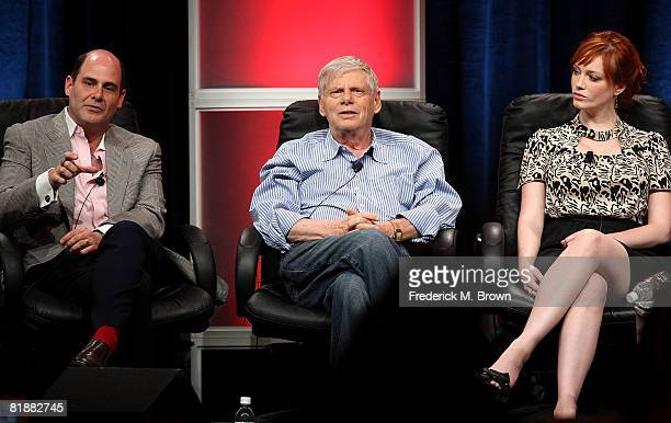 Creator/executive producer Matthew Weiner actors Robert Morse and Christina Hendricks of Mad Men speak during day two of the AMC Channel 2008 Summer...