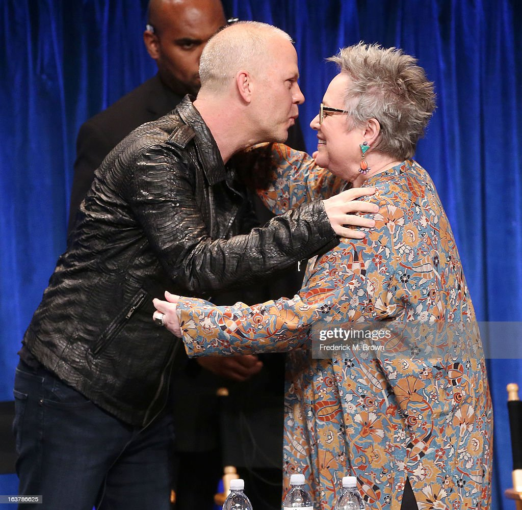 Creator/Executive producer Ryan Murphy (L) and actress Kathy Bates speak during The Paley Center For Media's PaleyFest 2013 Honoring 'American Horror Story: Asylum' at the Saban Theatre on March 15, 2013 in Beverly Hills, California.