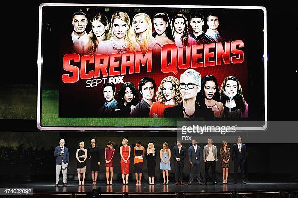 SCREAM QUEENS Creator/Executive Producer Ryan Murphy and Cast members Emma Roberts Jamie Lee Curtis Lea Michele Skyler Samuels Keke Palmer Abigail...