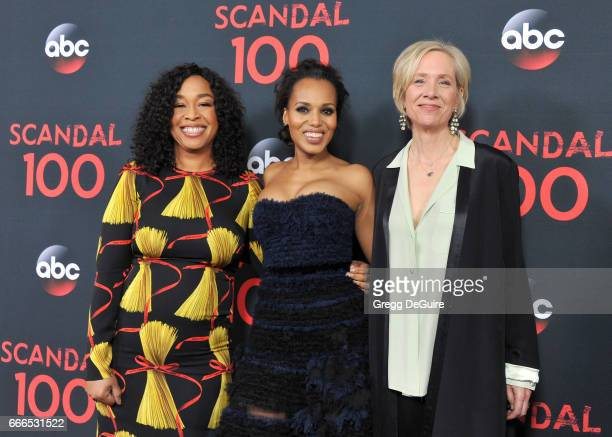 Creator/executive producer Shonda Rhimes actress Kerry Washington and executive Betsy Beers arrive at ABC's 'Scandal' 100th Episode Celebration at...