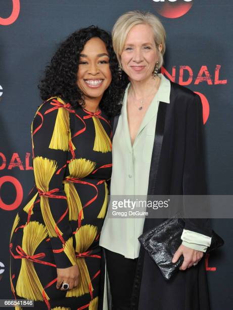 Creator/executive producer Shonda Rhimes and executive producer Betsy Beers arrive at ABC's 'Scandal' 100th Episode Celebration at Fig Olive on April...