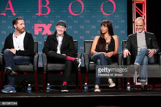 Creator/executive producer/actor Tom Hardy actors David Hayman Oona Chaplin and Michael Kelly of the television show 'Taboo' speak onstage during the...