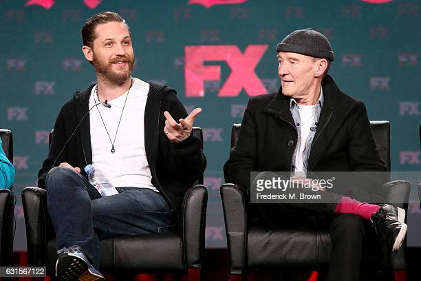 Creator/executive producer/actor Tom Hardy and actor David Hayman of the television show 'Taboo' speak onstage during the FX portion of the 2017...