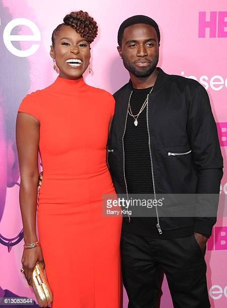Creator/executive producer/actress Issa Rae and actor Y'Lan Noel attend the premiere of HBO's 'Insecure' at Nate Holden Performing Arts Center on...