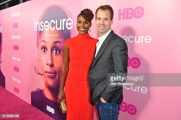 Creator/executive producer/actress Issa Rae and President of HBO programming Casey Bloys attend the premiere of HBO's Insecure at Nate Holden...