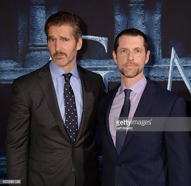 Creator/Executive Producers David Benioff and D B Weiss attend the premiere for the sixth season of HBO's 'Game Of Thrones' at TCL Chinese Theatre on...