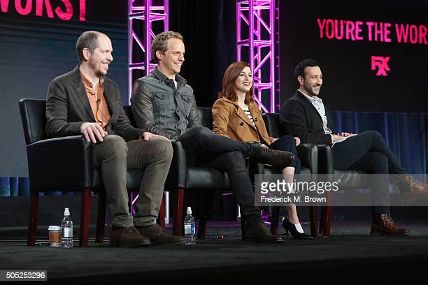 """Creator/Executive Producer/Showrunner Stephen Falk, actors Chris Geere, Aya Cash and Desmin Borges speak onstage during """"You're The Worst"""" panel..."""