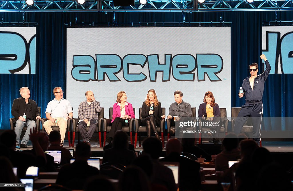 Creator/Executive Producer/Writer Adam Reed, Executive Producer, Matt Thompson, actors H. Jon Benjamin, Jessica Walter, Judy Greer, Chris Parnell, Amber Nash and Lucky Yates of the television show 'Archer' speak onstage during the FX portion of the 2014 Television Critics Association Press Tour at the Langham Hotel on January 14, 2014 in Pasadena, California.