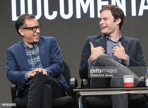 Creator/executive producer/writer/star Fred Armisen and creator/executive producer/writer/star Bill Hader speak onstage during the 'IFC/Documentary...