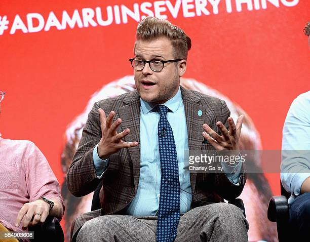 Creator/host Adam Conover speaks onstage during the 'Adam Ruins Everything' panel at the TCA Turner Summer Press Tour 2016 Presentation at The...
