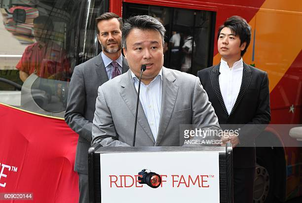 Creator/producer, of The Ride of Fame, David W. Chien speaks as pianist Lang Lang is inducted into the prestigious Ride of Fame in celebration of...