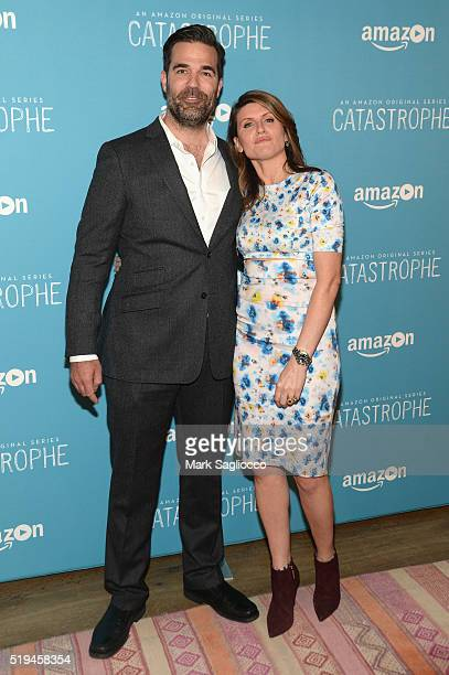 Creators and actors Rob Delaney and Sharon Horgan attend 'Catastrophe' New York Screening at Crosby Street Hotel on April 6 2016 in New York City