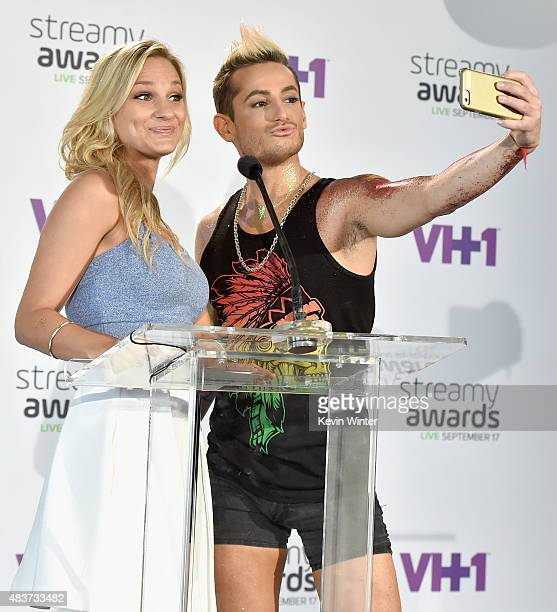 Creators Chelsea Briggs and Frankie Grande announce nominations onstage during The 5th Annual Streamy Awards Nomination Celebration at Annenberg...