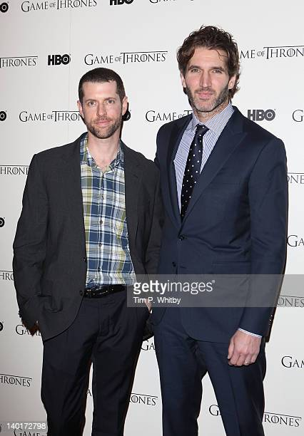 Creators DB Weiss and David Benioff attend the DVD launch of the complete first season of 'Game Of Thrones' at Old Vic Tunnels on February 29 2012 in...