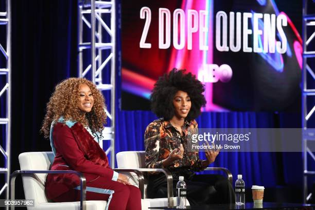 Creators executive producers and stars Phoebe Robinson and Jessica Williams of the television show 2 Dope Queens speak onstage during the HBO portion...