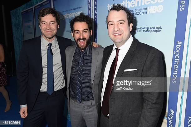 """Creators Mark Duplass, Jay Duplass and Steve Zissis attend HBO's """"Togetherness"""" Los Angeles Premiere And After Party at Avalon on January 6, 2015 in..."""