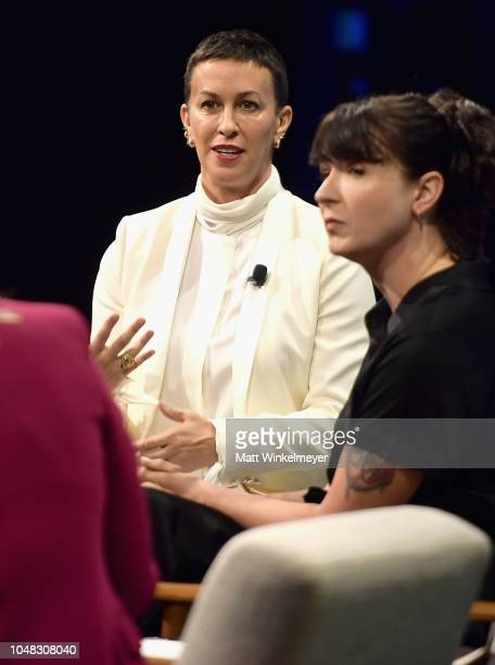 Creators of Jagged Little Pill The Musical Alanis Morissette and Diablo Cody speak onstage at Day 1 of the Vanity Fair New Establishment Summit 2018...