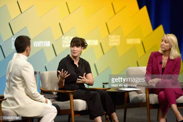 Creators of Jagged Little Pill The Musical Alanis Morissette Diablo Cody and Founder and CEO of Friends at Work Ty Stiklorius speak onstage at Day 1...