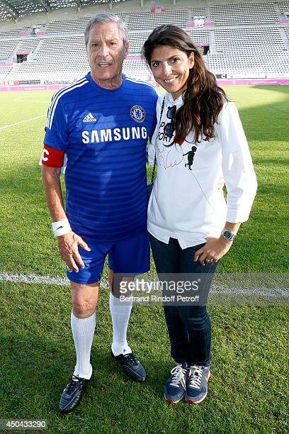 Creators of the assocition Jean-Claude Darmon and Hoda Roche attend the Football match for the benefit of the association 'Plus fort la vie' at Stade...