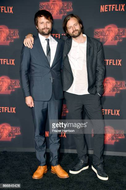 Creators Ross Duffer and Matt Duffer attend the premiere of Netflix's 'Stranger Things' Season 2 at Regency Bruin Theatre on October 26 2017 in Los...