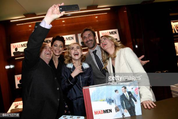 Creator/writer Matthew Weiner actors Jessica Pare Kiernan Shipka Jon Hamm and January Jones attend the launch for Matthew Weiner's Book 'Mad Men' at...
