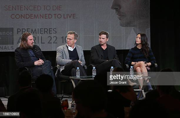 Creator/writer Raymond McKinnon executive producer Mark Johnson actor Aden Young and actress Abigail Spencer attend the Sundance Channel 2013 Winter...