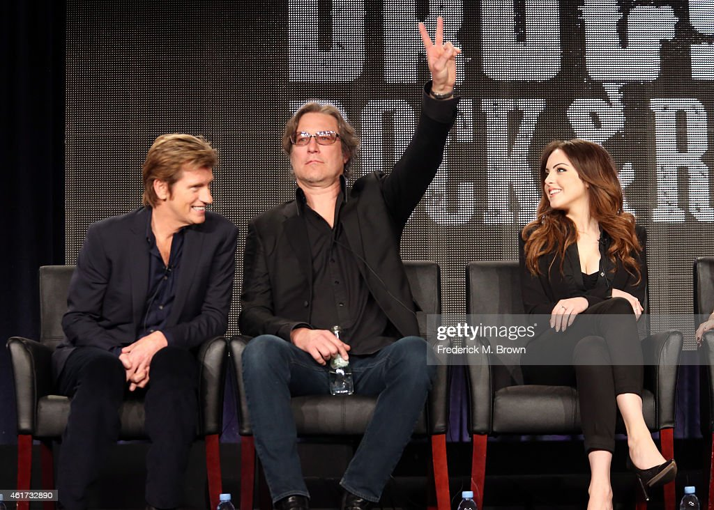 Creator/writer/actor Denis Leary, actors John Corbett and Elizabeth Gillies speak onstage during the 'Sex&Drugs&Rock&Roll' panel discussion at the FX Networks portion of the Television Critics Association press tour at Langham Hotel on January 18, 2015 in Pasadena, California.