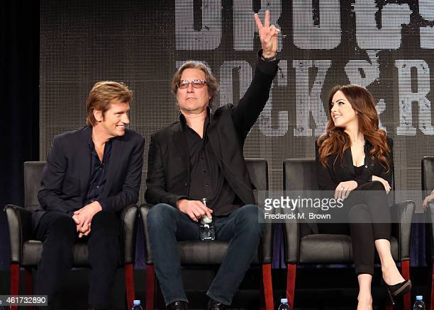 Creator/writer/actor Denis Leary actors John Corbett and Elizabeth Gillies speak onstage during the 'SexDrugsRockRoll' panel discussion at the FX...