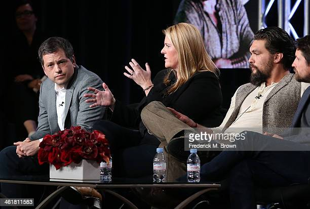 Creator/Writer/Co-Executive Producer Aaron Guzikowski, Executive Producer Bridget Carpenter and actor Jason Momoa speak onstage during the 'Sundance...