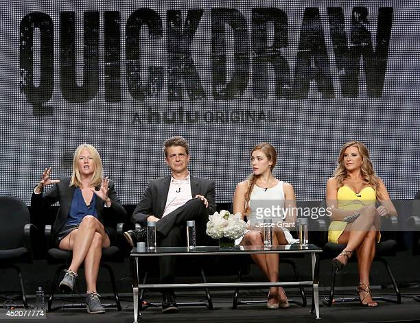 Creator/writer/director Nancy Hower creator/writer/actor John Lehr and actresses Alexia Dox and Allison Dunbar speak onstage during Hulu's TCA...