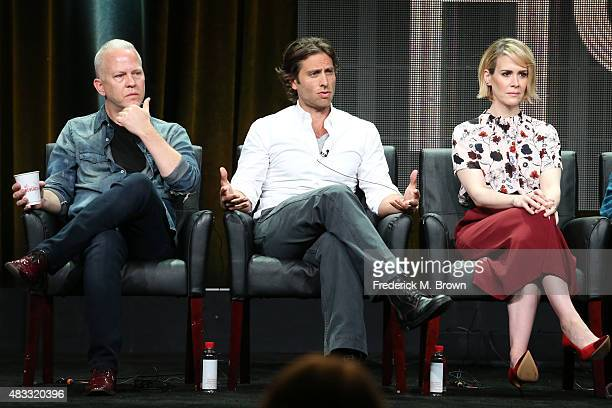 Creator/writer/director Ryan Murphy creator/writer/executive producer Brad Falchuk and actress Sarah Paulson speak onstage during the 'AHS Hotel'...