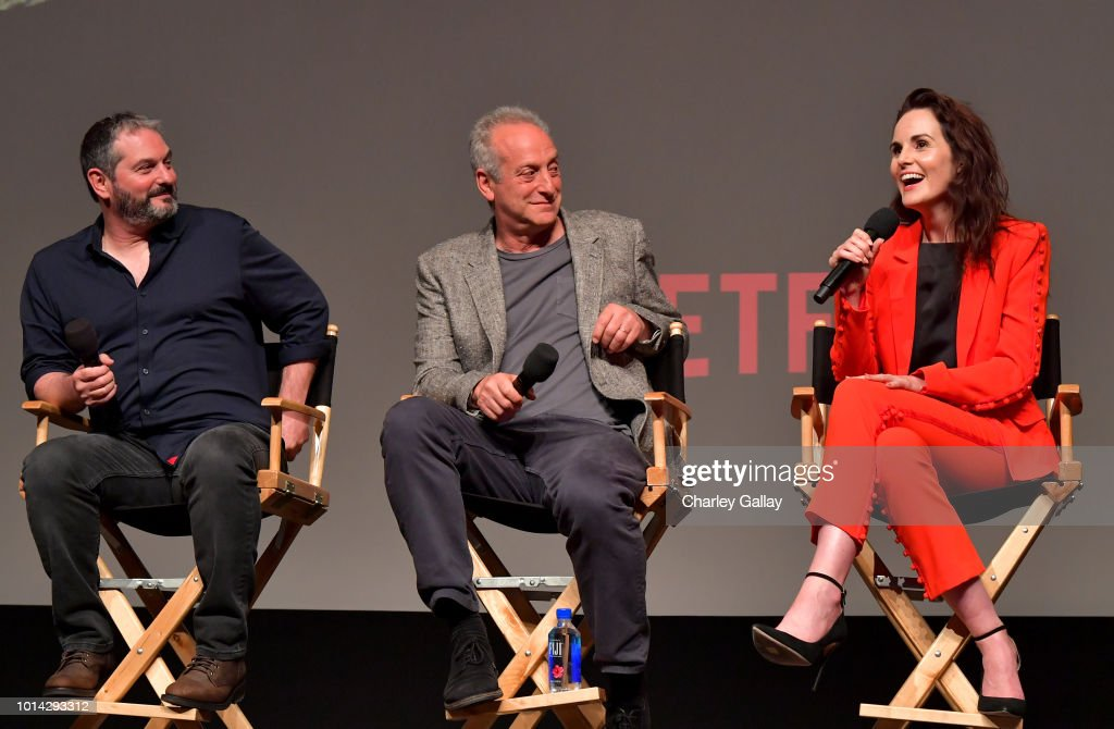 Creator/Writer/Director/Executive Producer Scott Frank, Executive Producer Casey Silver and Actress Michelle Dockery speak onstage at Netflix Celebrates 12 Emmy Nominations For 'Godless' at DGA Theater on August 9, 2018 in Los Angeles, California.