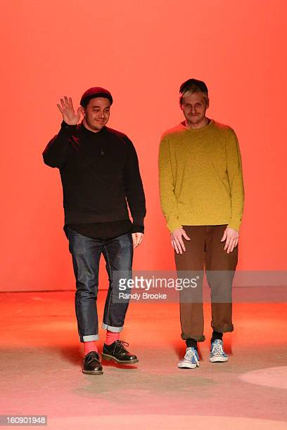 Creatures Of The Wind designers Chris Peters and Shane Gabier greeting audience after their Fall 2013 MercedesBenz Fashion Week show on February 7...
