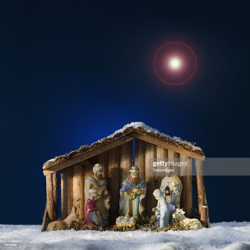 Creche under star in sky : Stock Photo